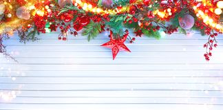 Christmas and New Year decoration over white wood background royalty free stock images