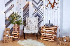 Christmas and New Year Decoration Over white Wooden Background vintage loft style Royalty Free Stock Photography