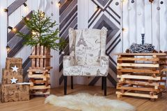 Christmas and New Year Decoration Over white Wooden Background vintage loft style Royalty Free Stock Images