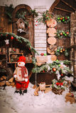 Christmas and New Year Decoration Over Wooden Background vintage Royalty Free Stock Image