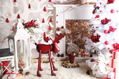 Christmas and New Year Decoration Over Wooden Background vintage red deer Stock Images