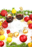 Christmas or New Year decoration with pine or fir and red orname Stock Image