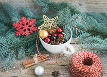 Christmas (New Year) decoration set: a cup full of colrful Chris royalty free stock image
