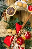 Christmas and New Year decoration straw wreath.Winter holiday background for greeting card. Stock Photography