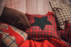 Christmas and new year decoration on tartan background Stock Image