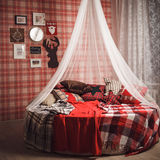 Christmas and new year decoration on tartan background Royalty Free Stock Photography