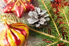 Christmas and New Year Decoration tree toy toned and bokeh added. Selective focus royalty free stock photos