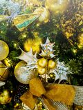 Christmas new year decoration vertical background.  Royalty Free Stock Photography