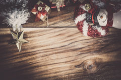 Christmas and New Year Decoration and wood background Stock Images
