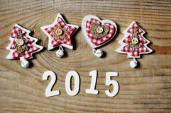 Christmas and new year 2015 decoration on wooden background Royalty Free Stock Image