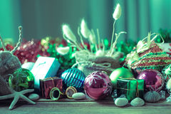Christmas and New Year decoration on wooden background Stock Photos
