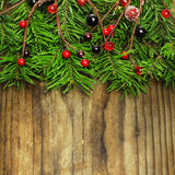 Christmas and New Year decoration on wooden background Stock Photo