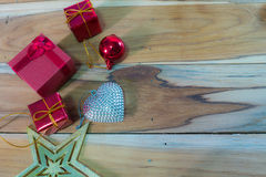 Christmas and New Year decoration on wooden used for the backgro Stock Images