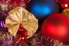 Christmas and new year decorations with balls and candles royalty free stock photos
