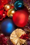 Christmas and new year decorations with balls and candles stock photo