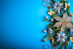 Christmas decorations on blue background royalty free stock photos