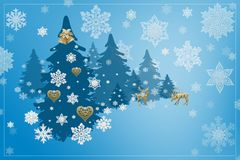 Christmas and New Year decorations: Christmassy fir-tree with sn Royalty Free Stock Photography