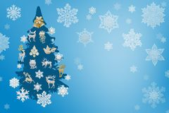 Christmas and New Year decorations: Christmassy fir-tree with sn Royalty Free Stock Photo