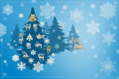 Christmas and New Year decorations: Christmassy fir-tree with sn Stock Photography