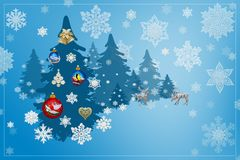 Christmas and New Year decorations: Christmassy fir-tree with sn Stock Images