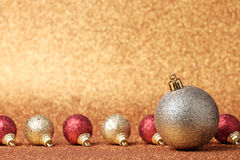 Christmas and New Year decorations on glitter background Royalty Free Stock Photography
