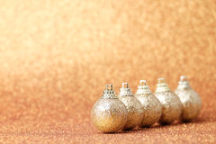 Christmas and New Year decorations on glitter background Royalty Free Stock Image