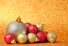Christmas and New Year decorations on glitter background Stock Photos