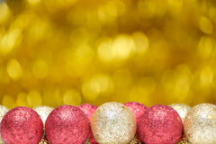 Christmas and New Year decorations on glitter background Stock Images