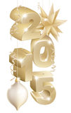Christmas or new year decorations. Gold Christmas or new year 2105 decorations star, ribbons and baubles Stock Image