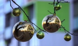 Christmas and new year decorations of houses and yard area. Christmas trees and trees are decorated with balls and toys. Festive. Mood is in air stock images