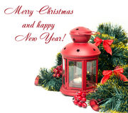 Christmas and New Year Decorations isolated Royalty Free Stock Photos