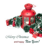 Christmas and New Year Decorations isolated Royalty Free Stock Images