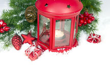 Christmas and New Year Decorations isolated Stock Images