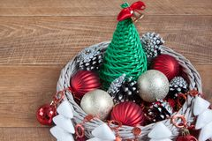 Christmas and New Year decorations isolated on a wooden background. Stock Photo