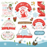 Christmas,New Year 2016 decorations,labels kit. Christmas season decorations.New year 2016 Label, ribbons,fir branches and lettering,snowflakes,funny monkey Stock Illustration