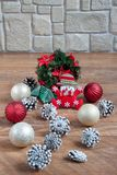 Christmas and New Year decorations are lying on a wooden flooring. Tradition holidays Stock Photography