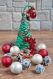 Christmas and New Year decorations are lying on a wooden flooring. Tradition holidays Stock Image