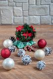 Christmas and New Year decorations are lying on a wooden flooring. Tradition holidays Royalty Free Stock Photos