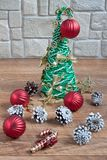 Christmas and New Year decorations are lying on a wooden flooring. Tradition holidays Royalty Free Stock Image