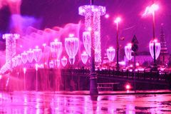 Christmas and New Year 2018 decorations in Moscow city center. Stock Photo