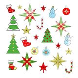 Christmas and New Year decorations are multicolored. Red, green, yellow, white, blue Royalty Free Stock Image
