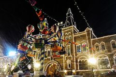 Christmas and New Year 2018 decorations on the Red Square in Moscow. Stock Photography