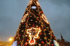 Christmas and New Year 2019 decorations on the Red Square in Moscow. stock photography