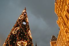 Christmas and New Year 2019 decorations on the Red Square in Moscow. stock photo