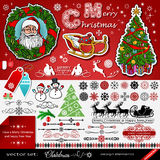 Christmas and New Year decorations  set, creative, victori. An style,  art elements, seasonal icons idea, silhouettes of Santa and reindeers, retro calligraphic Stock Photography