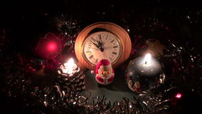 Christmas new year decorations with two candles. On table stock footage