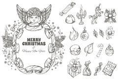 Christmas and New Year decorative design elements. Beautiful frame with angel and decorative design elements for Christmas and New Year greeting cards, posters Stock Photo