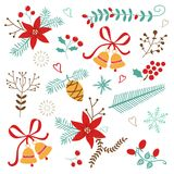 Christmas and New year decorative elements Royalty Free Stock Image