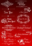 Christmas and New Year decorative elements Royalty Free Stock Photo