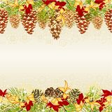 Christmas and New Year decorative seamless horizontal bordern branches with golden pine cones and snowflakes with golden and red p stock illustration